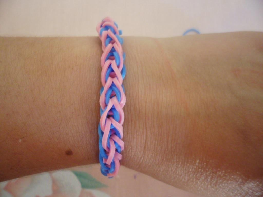 ♥Como fazer pulseiras de elástico: (French Braid) trançada  sem tear Loom Bands