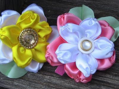 HOW TO MAKE ROLLED RIBBON ROSES- fabric flowers- flor em fitas  de cetin Passo a Passo