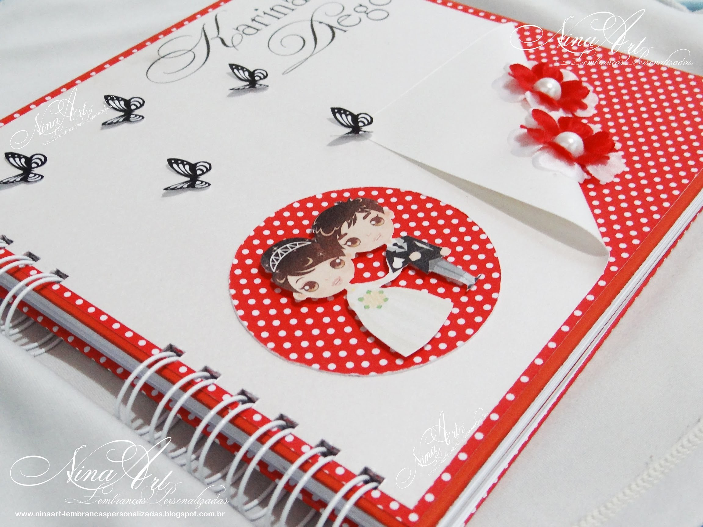 Livro de Mensagens.Assinatura para Casamento - Nina Art