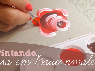 Pintando uma Rosa em Bauernmalerei - Rosa 6