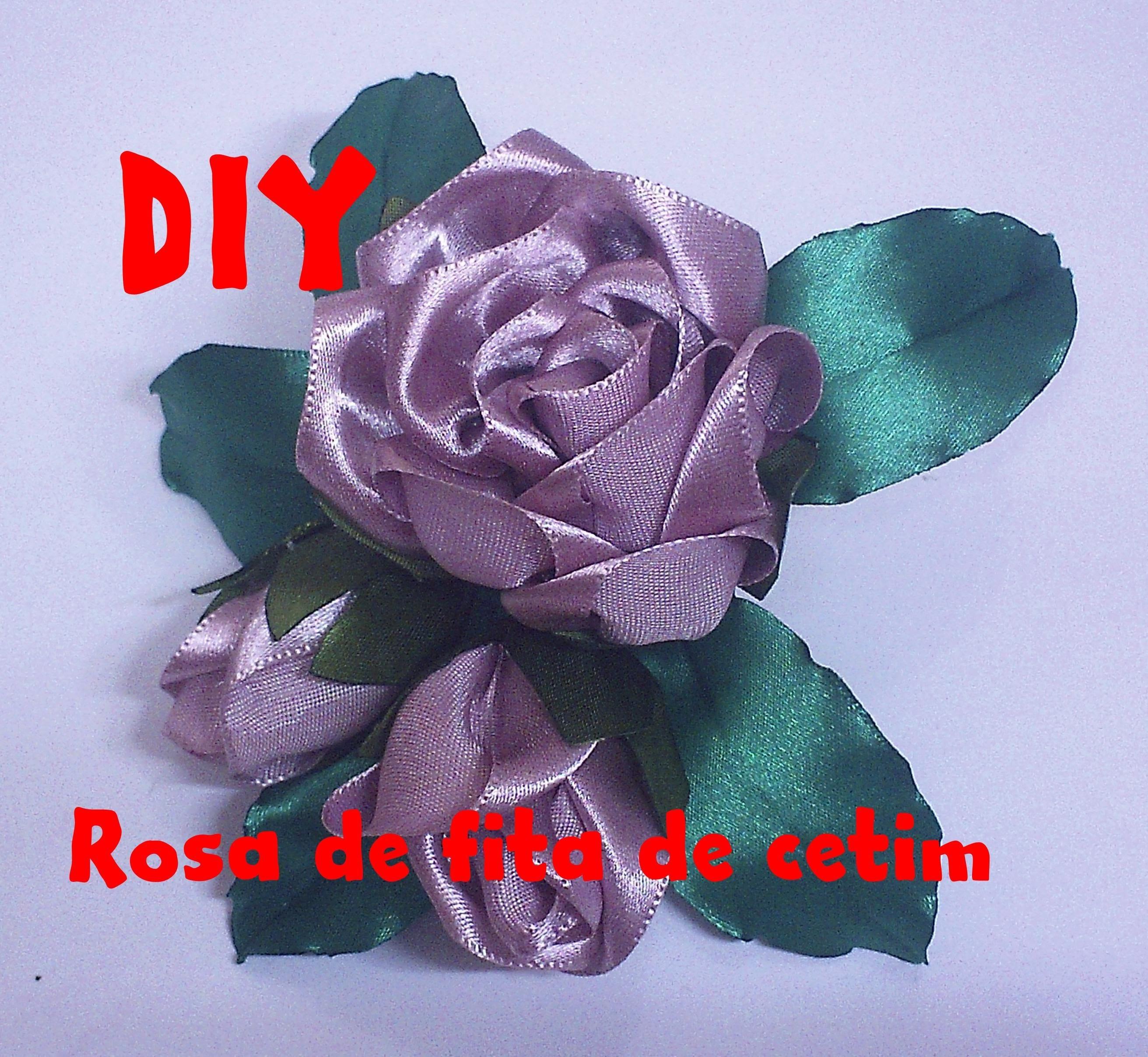 Rosa de fita de cetim. Rose satin ribbon
