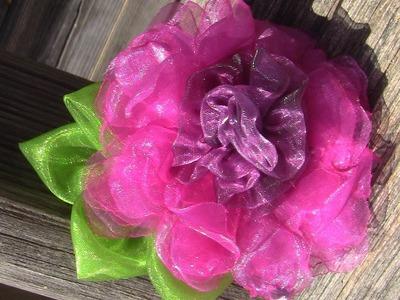 Rosa Flocada em Organza Passo a Passo