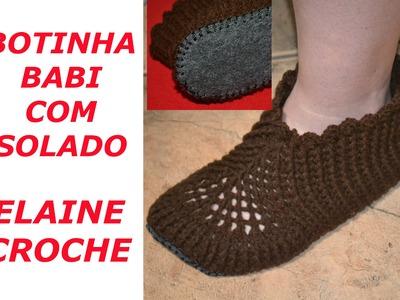 BOTINHA BABI EM CROCHE COM SOLADO