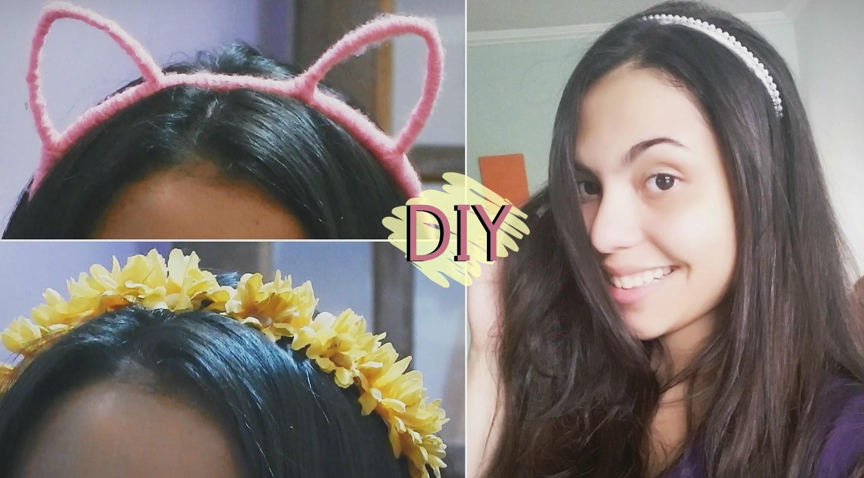 DIY: Tiaras: flores, gatinho e pérolas. Ideas #Veda12 | Andressa Moraes