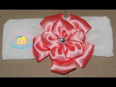 Faixa de meia de seda com flor de fita de cetim - Passo a Passo (DIY)