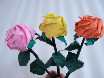 Passo a passo como dobrar a rosa de origami kawasaky