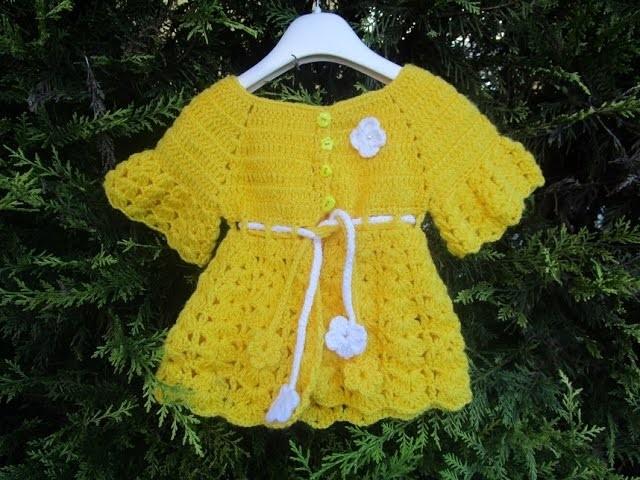 Casaquinho para bebê em crochê parte 1 Crochet Cardigan - Chaqueta Gancillo Rebeca