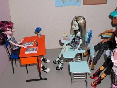Como fazer carteira ou cadeira escolar para boneca Monster High, Barbie, MLP, EAH, etc