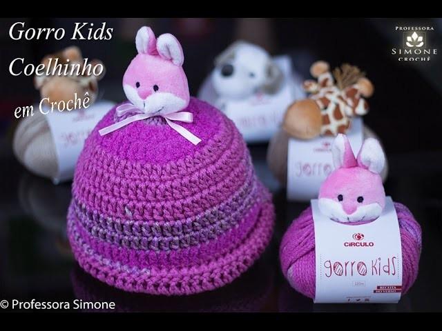 Gorro. Touca  Kids Crochê Coelhinho - Professora Simone