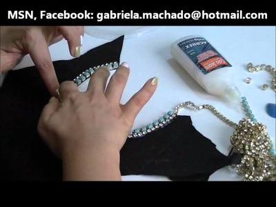 AnaGGabriela - Vídeo-aula 42 - Maxi-colar colorido com chatons e fios de strass