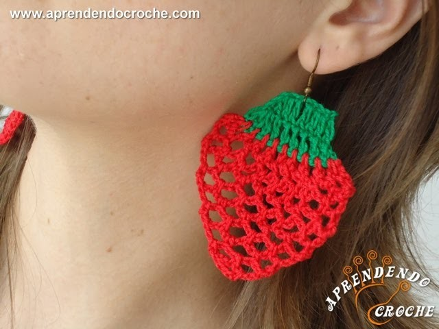 Brinco de Croche Morango - Aprendendo Crochê