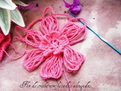 Como fazer flor em croche com pétalas de lacadas alongadas - Häkelblume crochet Flower