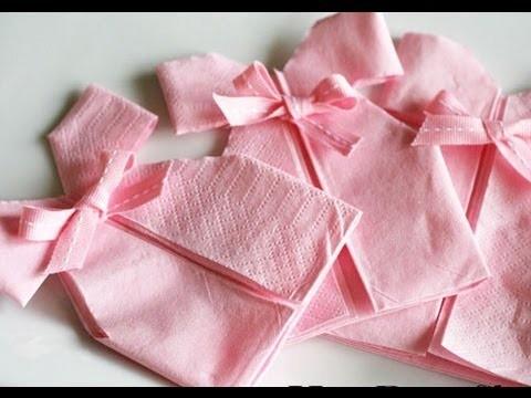 Como fazer um vestidinho usando guardanapo de papel para chá de bebê