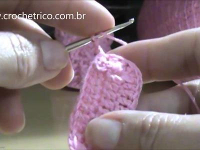 Crochê para Canhotas - Sapatinho para Bebê em Ponto Barra (Recém Nascido) - Parte 01.05