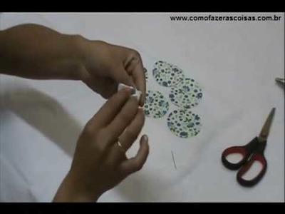 Como fazer uma flor de tecido usando fuxico - parte 2