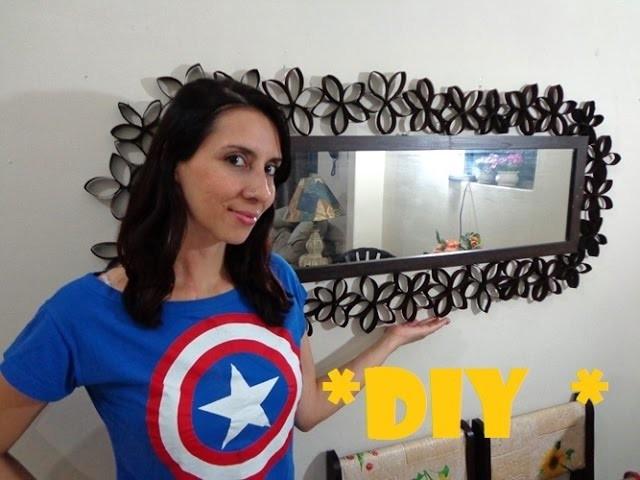 DIY Decorando o espelho da sala com rolinhos de papel higiênico