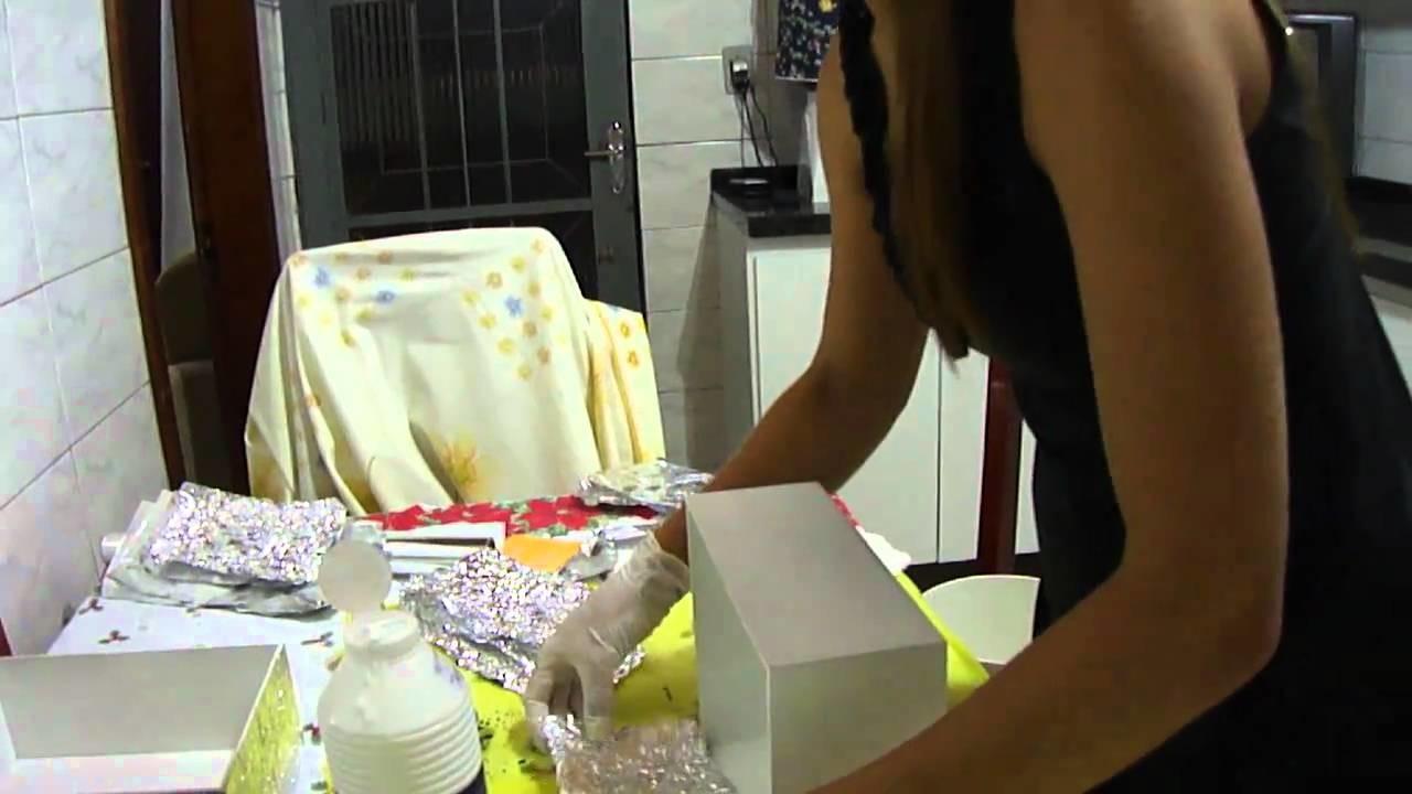 PAP caixa decorada com papel alumínio