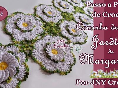 Passo a Passo de crochê Caminho de Mesa Jardim de Margaridas por JNY Crochê