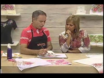 Rosas em pintura adesivada e molhada com Luis Moreira - Vitrine do Artesanato na TV
