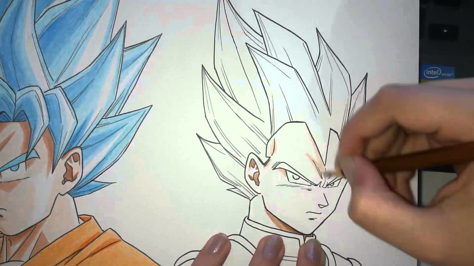 Speed Drawing - Goku and Vegeta (SSGODSS - Dragon Ball Z: Fukkatsu no F)