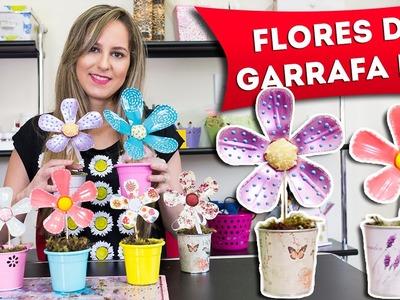 Artesanato com Garrafa Pet - Como Fazer Flores de Plástico Reciclado - Faça Você Mesmo - DIY
