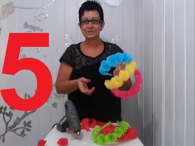 Aula 5 - Como fazer arcos de cabelo com flores de papel crepom - Artesanato