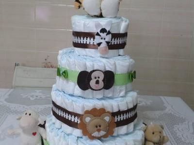 Como fazer bolo de fraldas passo a passo - STEP BY STEP OF THE DIAPER CAKE