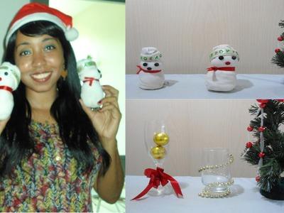 Como fazer Boneco de Neve e Decoração em Copos e Taças