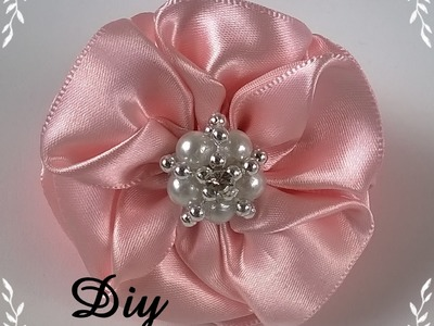 DIY - Flor de fita de cetim \ Flower satin ribbon - DIY