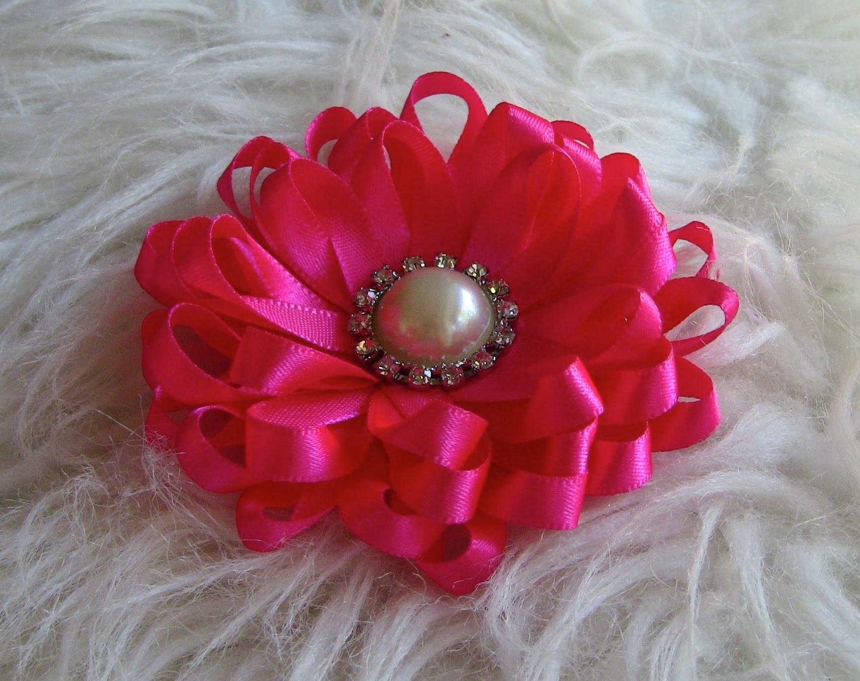 Flor em fitilhos  - Passo a Passo  Diy -  HOW TO MAKE ROSES- fabric flowers