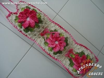 Jogo Banheiro Crochê Floral - Porta Papel Higiênico - Aprendendo Croche