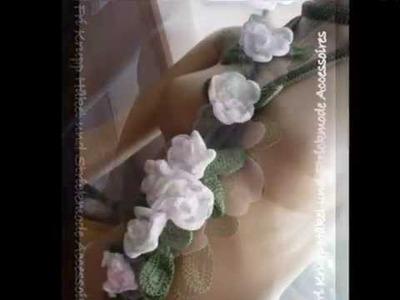 "Meu bouquet de rosas brancas em croche""Samiramis"" Buafanda, Häkelkette Rosenstrauss, cowl,scarf."