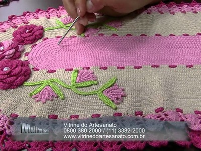 Mulher.com 03.07.2014 - Jogo Americano Croche Vitrine por Maria Jose - Parte 2
