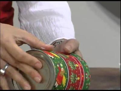 Mulher.com 23.11.2011 - Reciclagem de latinhas com tecido natalino