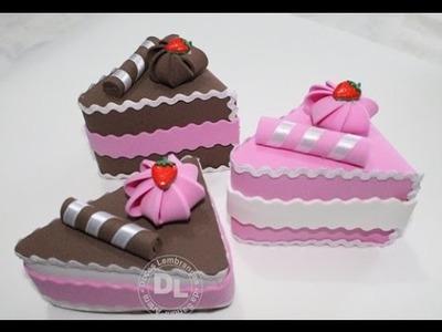 Como fazer fatia de bolo falso em eva