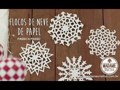 Como fazer flocos de Neve com Papel - Decoração Festa Frozen - Paper Snowflakes EASY DIY