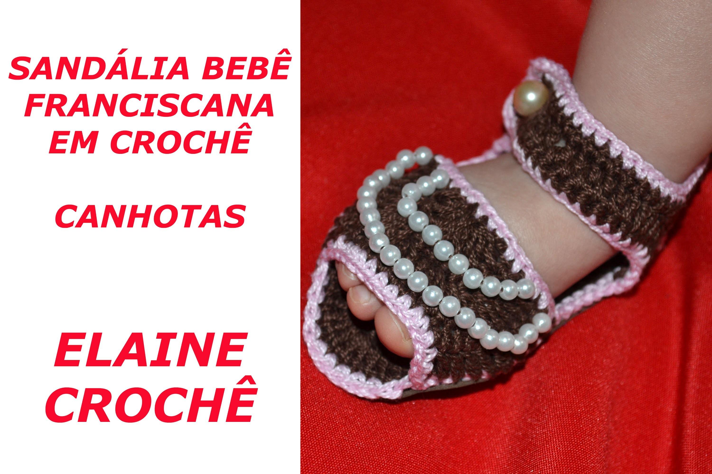 CROCHE PARA CANHOTOS - LEFT HANDED CROCHET - SANDÁLIA BEBÊ FRANCISCANA EM CROCHE CANHOTAS