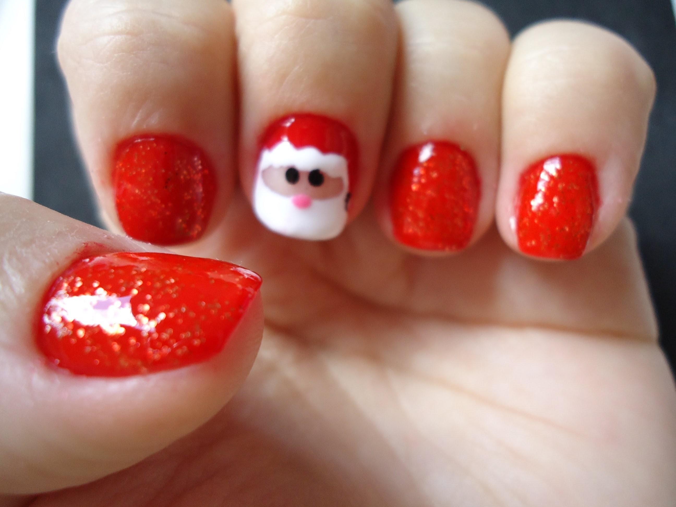 DIY - TUTORIAL UNHAS PARA O NATAL 2 (Christmas nail art)