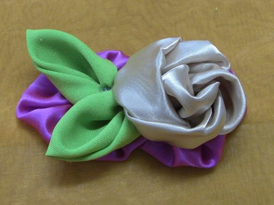 HOW TO MAKE ROLLED RIBBON ROSES- fabric flowers-Rosa de Fuxico  Passo a passo