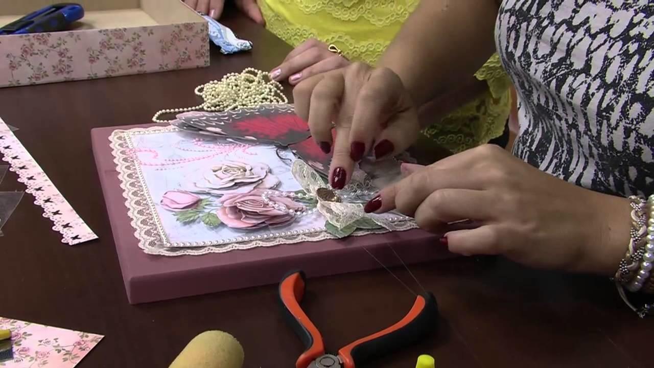 Mulher.com 03.10.2014 - Caixa com Scrap Decor por Marisa Magalhães - Parte 2