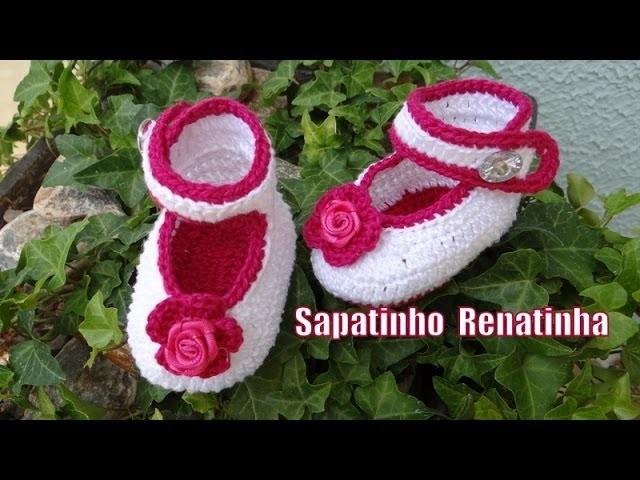 Extremamente Passo a passo Sapatinho Renatinha Crochê - Professora Simone ZM33