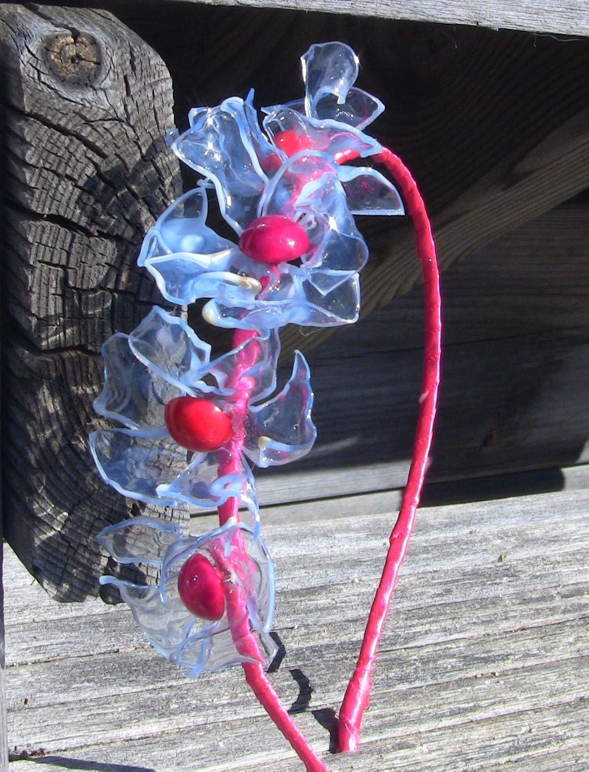 Reciclage  - Tiara com Flores  de Garrafa pet passo a passo