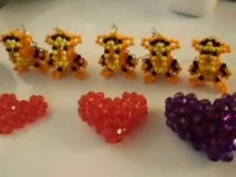Trigrão e corações trabalho com miçangas