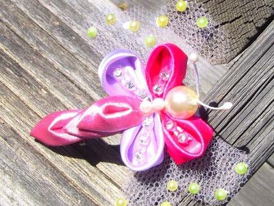 Butterfly-Borboleta  de  fitas de cetim   Passo a Passo