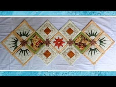 Caminho.trilho de mesa em patchwork Evie - Maria Adna Ateliê - Cursos e aulas em patchwork no ateliê