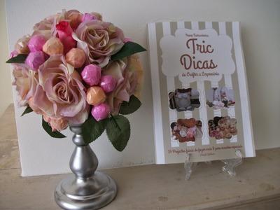 DIY como  fazer um centro de mesa,  topiaria de flores vintage e pirulitos ♥