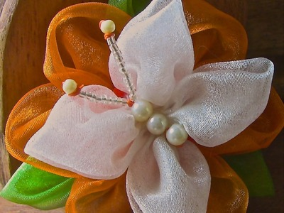 Flor de Organza com uma Borboleta Passo a Passo -butterfly -
