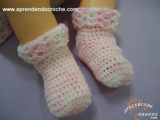 Meia para Bebê em Croche Soft - Aprendendo Crochê