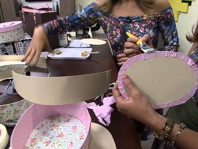 Mulher.com 01.07.2014 - Maleta Oval Cartonagem por Ana Paula Viegas - Parte 1