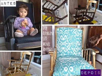 Tutorial pintura e tapeçaria móvel vintage: DIY Rocking chair